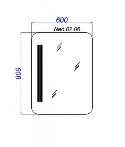 """Нео 60"""" Панель с зеркалом и подсветкой."""