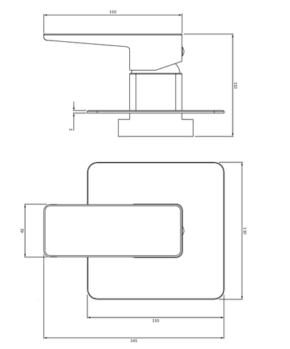 Omnires PARMA душевой смеситель встроенный на 1 режим, графит