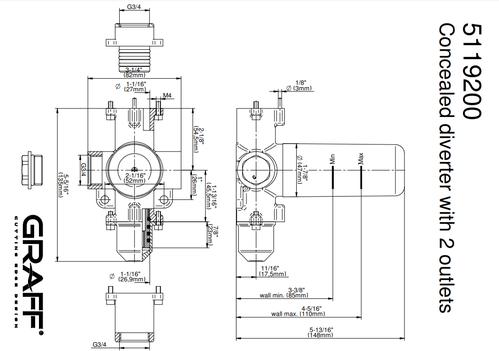 """Graff M-series - Внутренний переключатель с двумя выходами и регулировкой потока 3/4""""- внутренний элемент"""