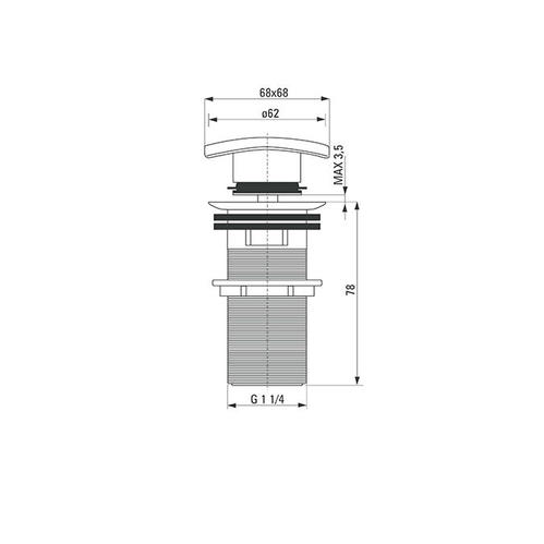 Пробка квадратная Deante CLICK-CLACK с переливом для раковины, хром