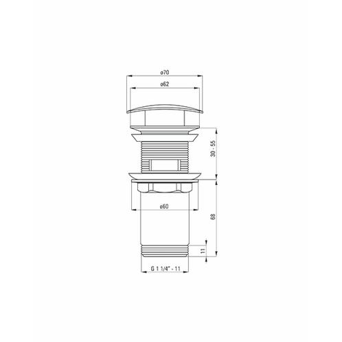 Пробка квадратная универсальная Deante CLICK-CLACK для раковины, хром
