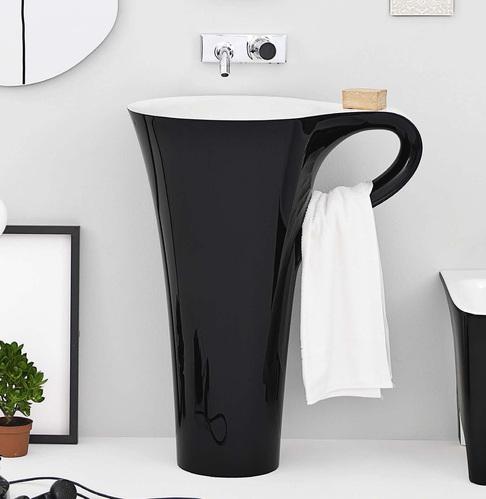 Раковина напольная отдельностоящая ArtCeram (Livingtec) 70х50хh85 см, цвет белый/черный