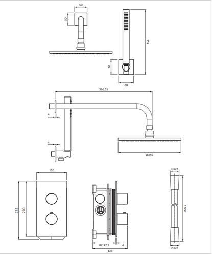 Термостатическая душевая система скрытого монтажа Omnires Contour, хром