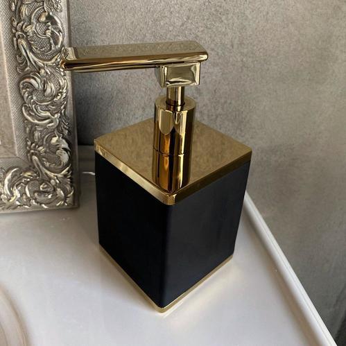 Boheme Q диспансер для жидкого мыла настольный, черный/золото