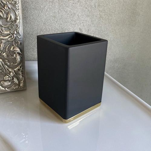 Boheme Q стакан для зубных щёток настольный, черный/золото