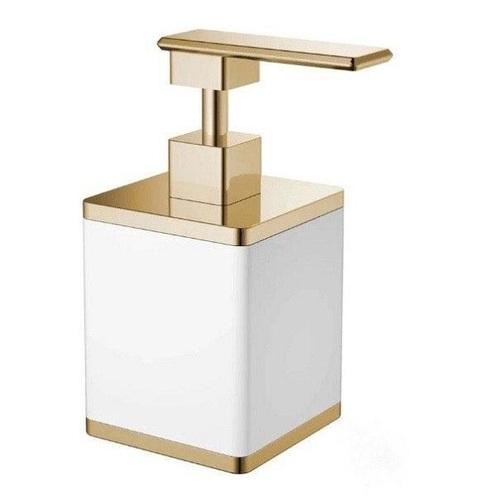 Boheme Q диспенсер для жидкого мыла настольный,белый/золото