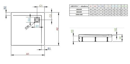 Душевой поддон Radaway Argos С, размер 100x100x14,5