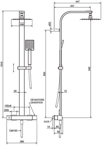 Душевая стойка термостат La Torre Profili