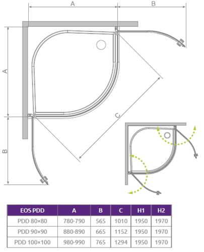 Душевой уголок Radaway Eos PDD, H-197 см