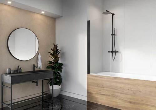 Душевая шторка на ванну Radaway Nes PNJ, H-150 см, чёрный профиль