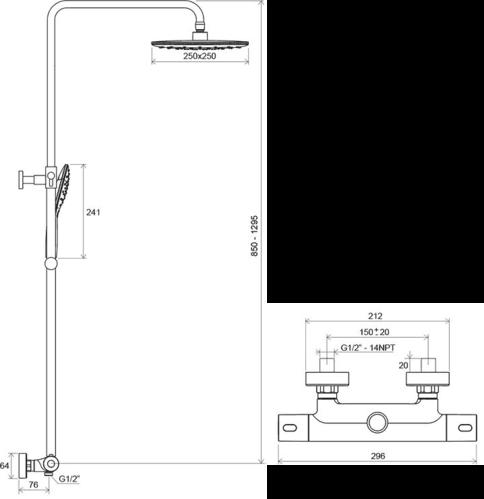 Душевая стойка Ravak Termo 300 с термостатом и душевым набором