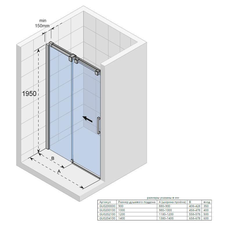 Душевая дверь прямоугольная раздвижная Riho