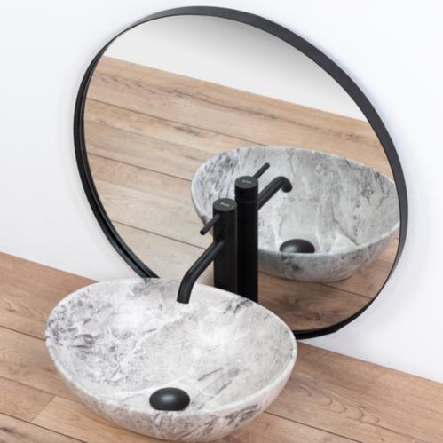 Умывальник REA Sofia Stone (белый мрамор) 41*34 см