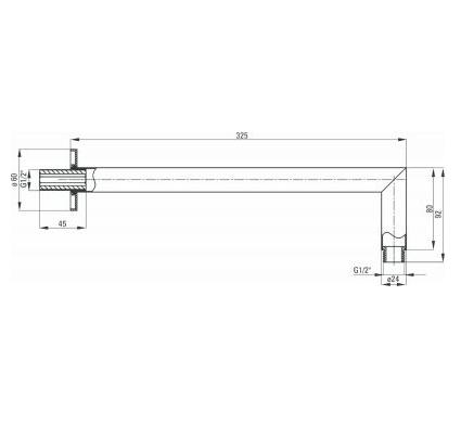 Штанга-излив настенный круглый для верхнего душа CASCADA NERO, 325 мм, черный