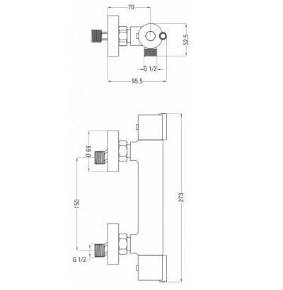 Смеситель термостатический для душа DEANTE NEO JOKO, хром