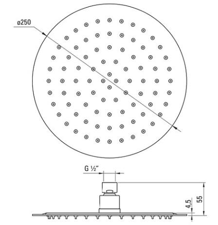 Верхний душ стальной круглый DEANTE CASCADA FLOX d=250 мм, белый