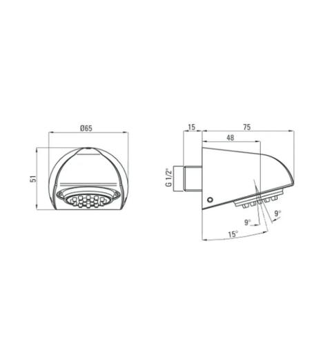 Верхний душ антивандальный DEANTE CASCADA, 75х65 см, хром
