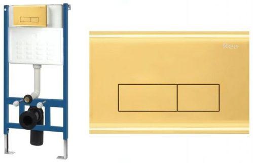 Инсталляция Rea для унитаза + кнопка H золотая