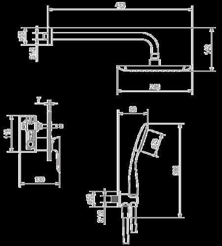 Душевая система La Torre Laghi, скрытого монтажа, на 2 режима, цвет черный