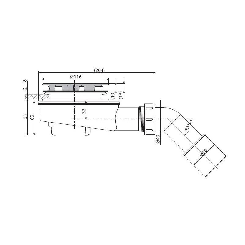 Сифон для душевого поддона Ани Пласт Е415СL, 50 мм