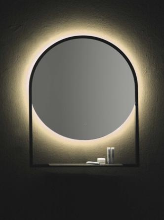 Зеркало круглое 60*70 с полочкой антрацит