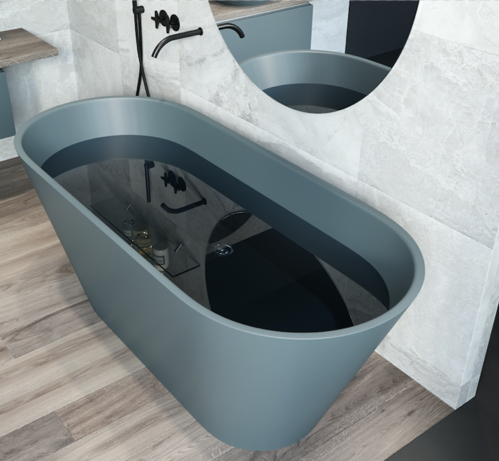 Ванна каменная Holbi Selena Solid Surface 161*68 (Blue)