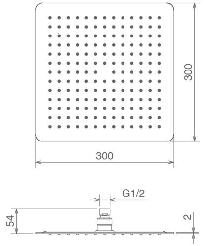 Лейка верхнего душа La Torre, 30x30 см квадратная