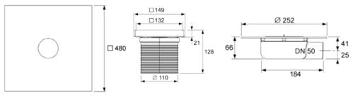 Комплект под плитку TECEdrainpoint S 3600000, с универсальным фланцем Seal System