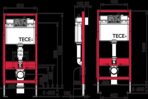 Комплект инсталляции TECE, h=112 см + Кнопка смыва TECEloop