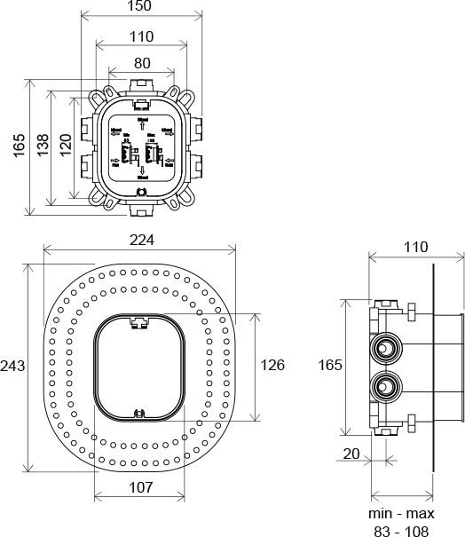 СМЕСИТЕЛЬ СКРЫТОГО МОНТАЖА RAVAK R-BOX 072.50, R-BOX, VARI
