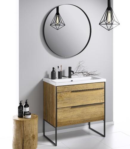 Aqwella Fargo Зеркало круглое 80/60см, цвет чёрный