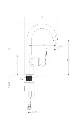 Смеситель Deante Arnika Titanium для раковины вертикальный с изливом U, с донным клапаном Click-Clack, цвет графит