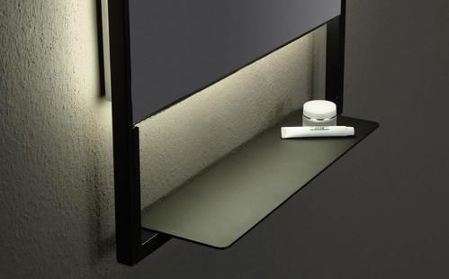 Зеркало прямоугольное 100*60 с полочкой антрацит  Vallessi