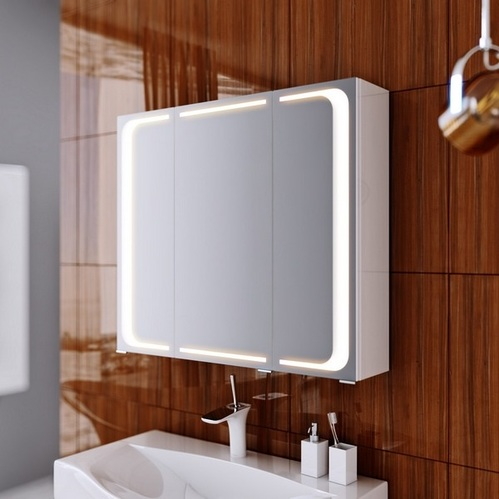 """""""Милан """"шкаф-зеркало со светильником, 80см цвет белый"""