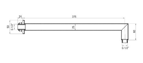 Штанга-излив настенный квадратный для верхнего душа Deante CASCADA, 375 мм, хром
