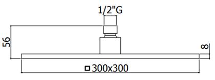 Лейка верхнего душа Paffoni, 30x30 см хром